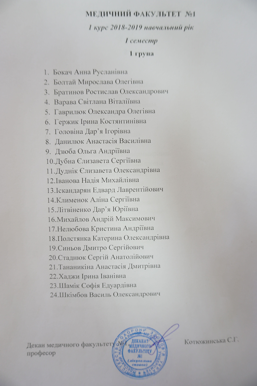 Списки груп медичних факультетів першого та другого курсів